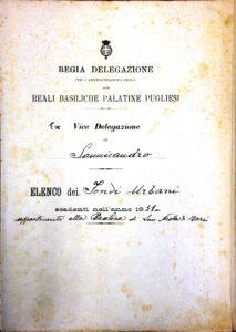 Prospetto delle spese a favore della Basilica di San Nicola di Bari